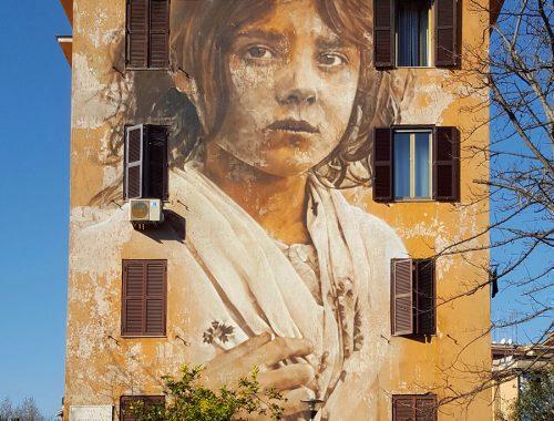 Tor Marancia street art in Rome - wall 14