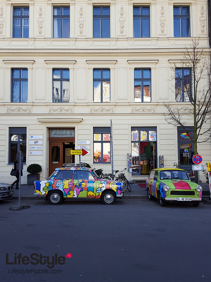 Colorful Trabants near Checkpoint Charlie Berlin