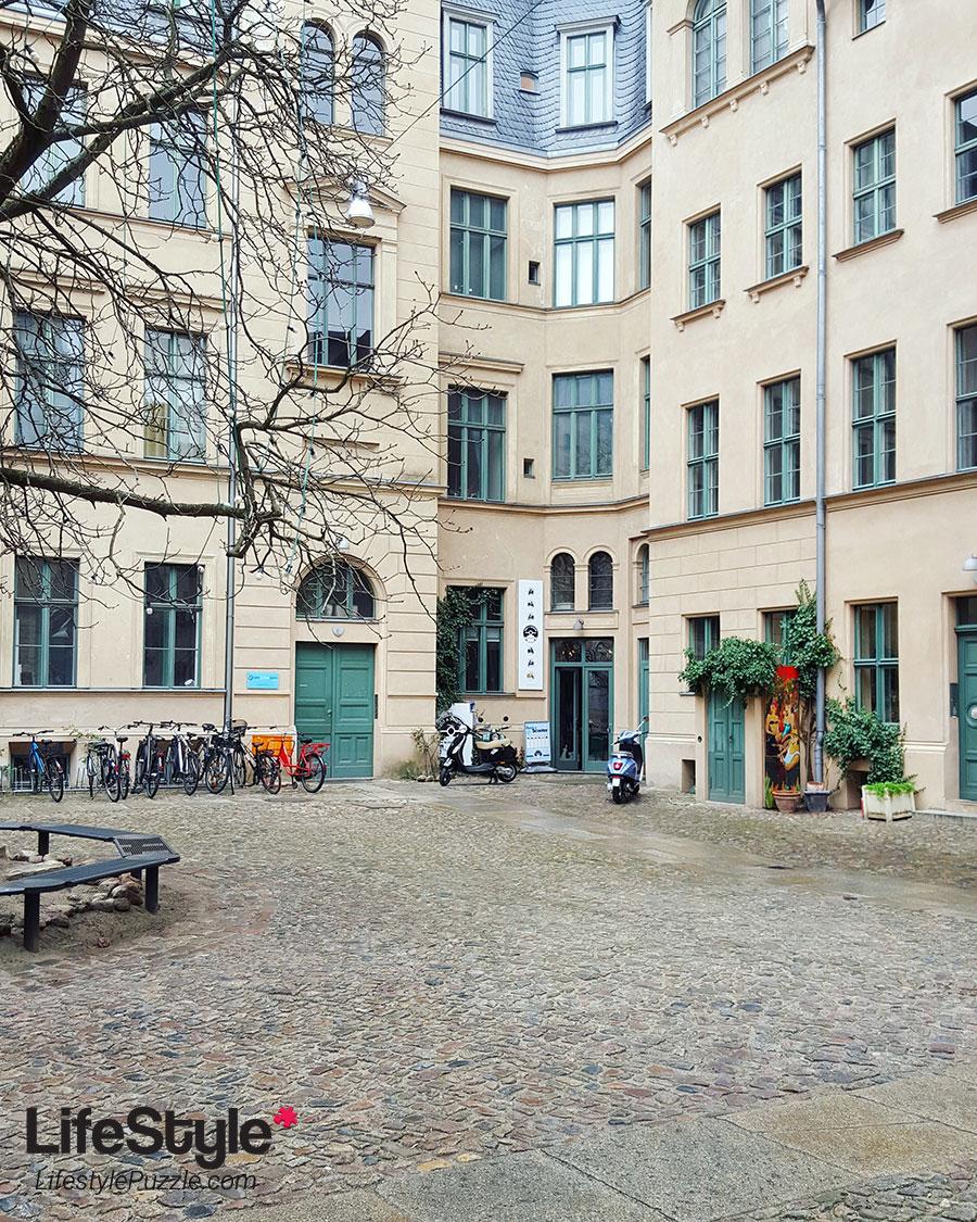 peaceful courtyard in Berlin, Germany