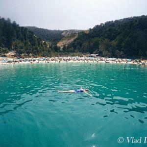 Porto-Vathy-Marble-Beach,-Thassos,-Greece,-GoPro