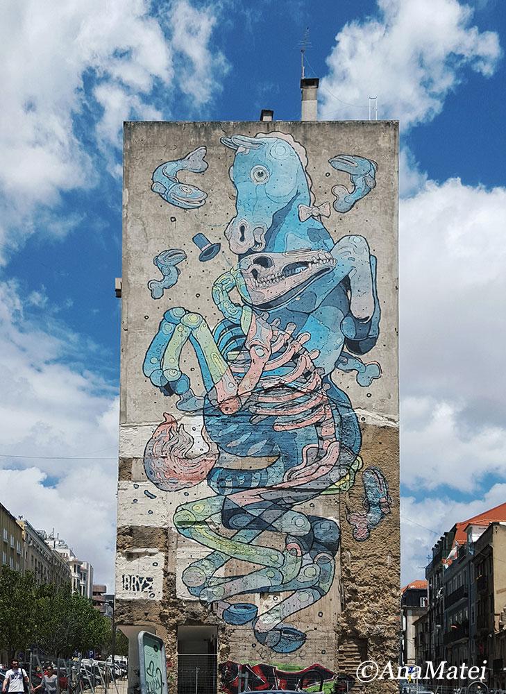 Lisbon Street Art Facade - horse