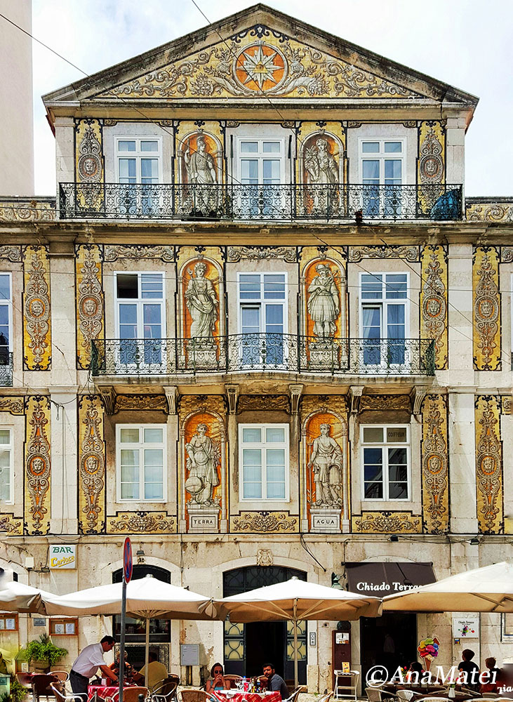 Lisbon Facade with Azulejos - Yellow