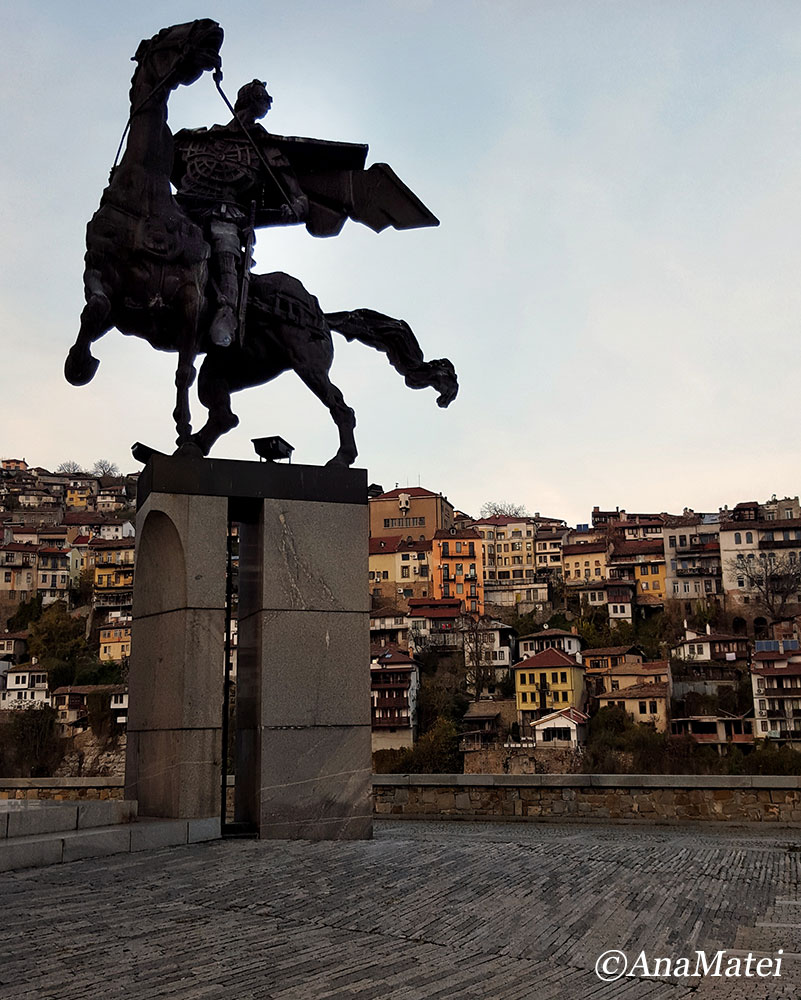 Asen s Monument in Veliko Tarnovo, Bulgaria - close-up and houses