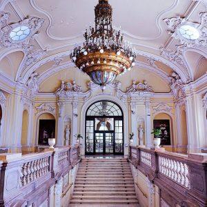 Vajdahunyad Castle,-Budapest---yellow-stairs