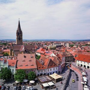 Little-Square-Sibiu,-Transylvania,-Ro