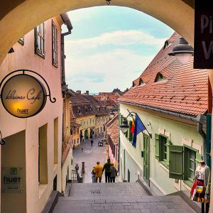 Tower-Street---Green-Passage-in-Sibiu,-Transylvania