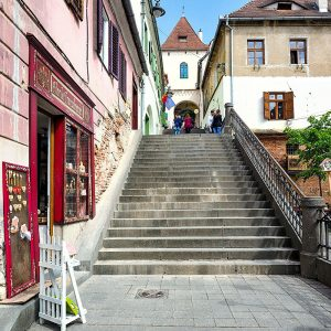 Tower-Street-in-Sibiu,-Romania