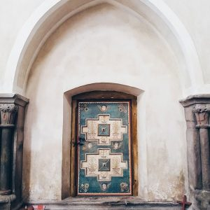 beautiful-door-at-Carta-Cistercian-Abbey,-Romania