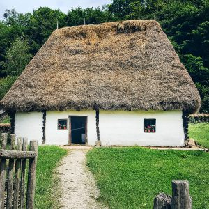 thatched-roof-house-at-Astra-Museum-Sibiu,-Romania