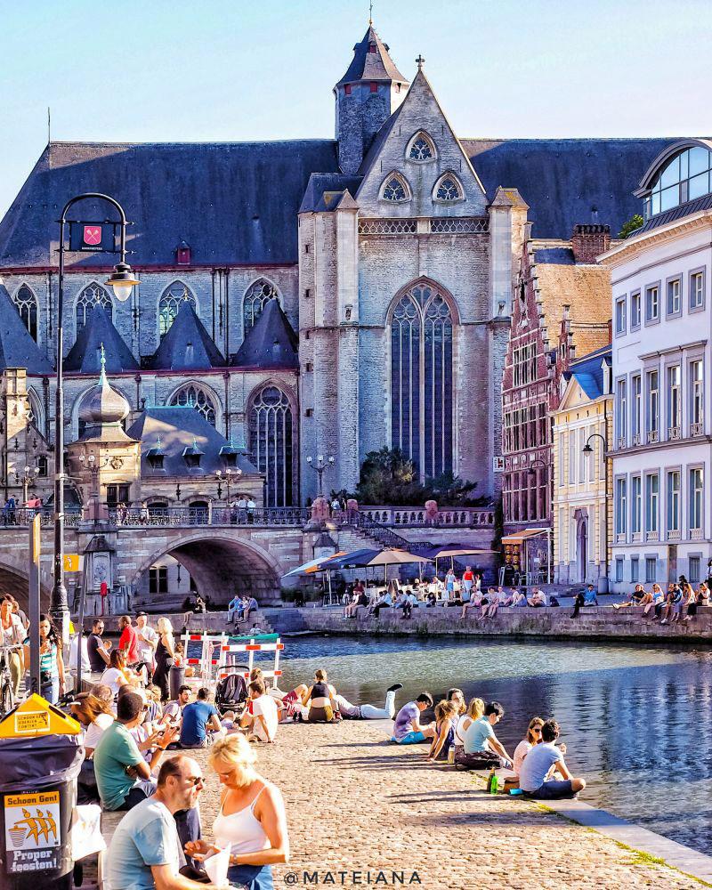 Ghent-waterfront-near-Michiels-Brug-Bridge