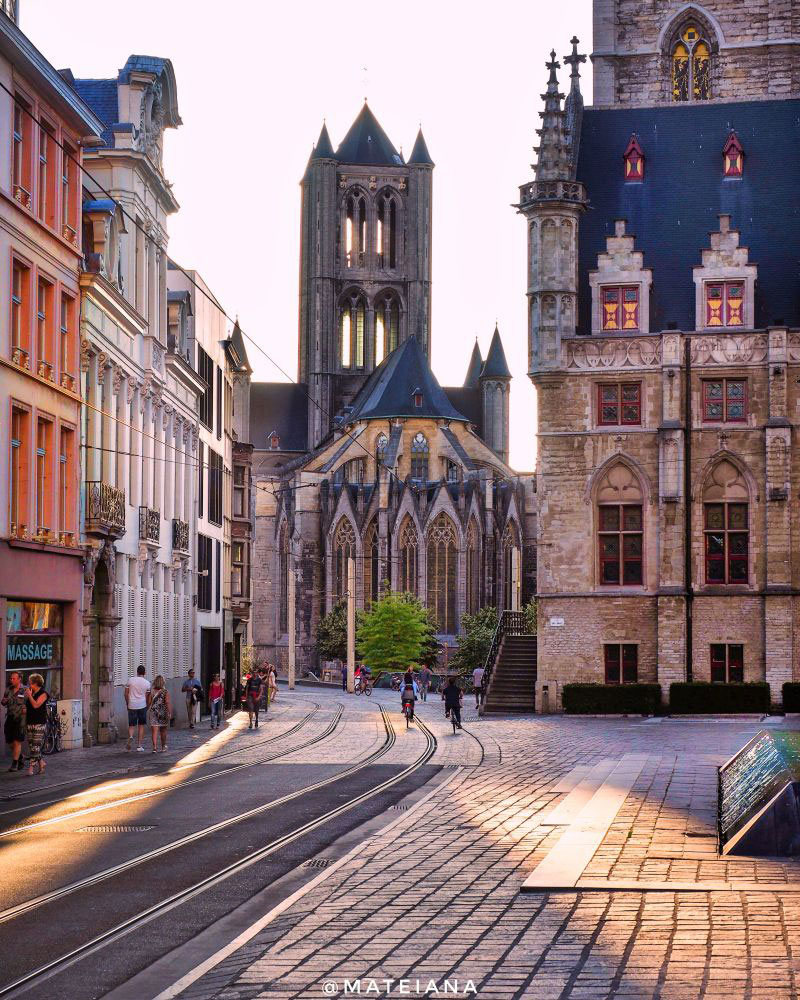 Saint Nicholas' Church, Ghent - summer sunset