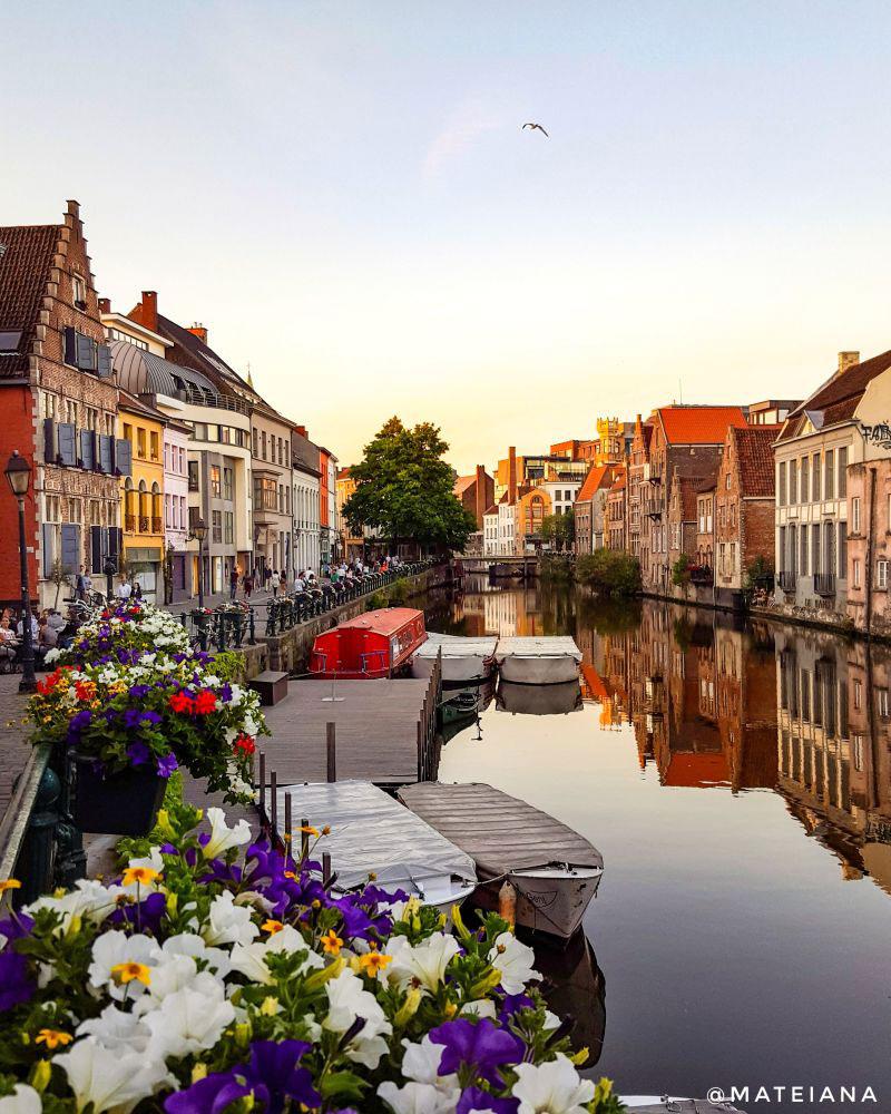 summer-sunset-in-Graslei-and-Korenlei---Ghent,-BE