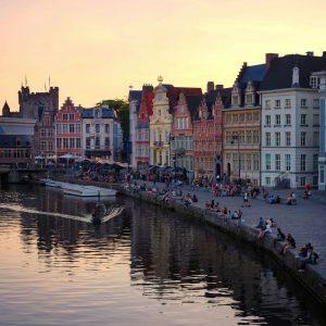 sunsets-in-Ghent,-Belgium---summer-in-Belgium