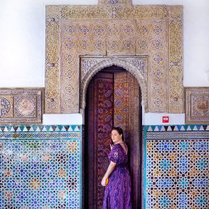 Ana-at-Real-Alcazar-of-Seville,-Spain