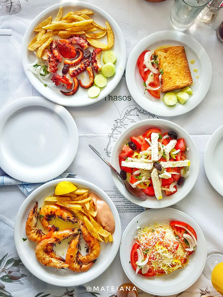 Greek-sea-food-in-Limenaria,-Thassos