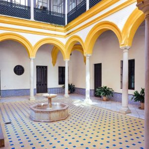 Yellow-patio-at-Real-Alcazar-Seville
