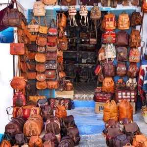 Moroccan-leather-goods-in-Chefchaouen-s-Souk