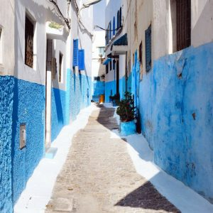 Kasbah-des-Oudaias,-Rabat---White-and-Blue-Narrow-Street