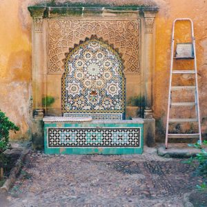 Old-fountain-in-Andalusian-Gardens---Rabat,-Morocco