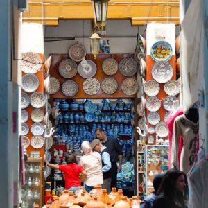 Souk-in-Fes-Medina,-Morocco