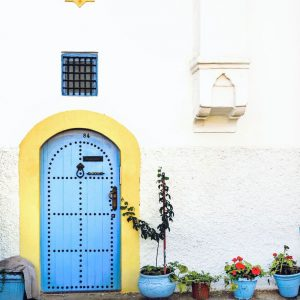 blue-door-and-yellow-wall---Kasbah-of-the-Udayas