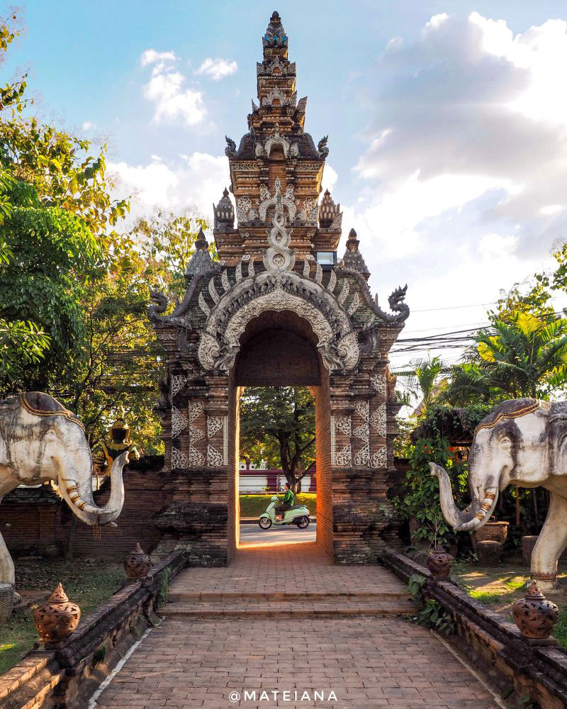 Beautiful-gate-and-stone-elephants-and-Wat-Lok-Moli-in-Chiang-Mai