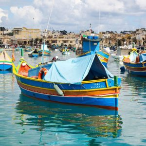 Luzzu---Colorful-Maltese-Fishing-Boat---in-Marsaxlokk