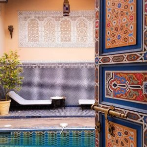 Riad-Fes-Baraka---pool-and-Berber-door