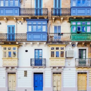 Beautiful-Facade-with-Maltese-Timber-Balconies-in-Valletta