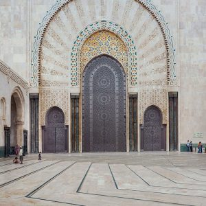 Hassan-II-Mosque-in-Casablanca,-Morocco---Architecture