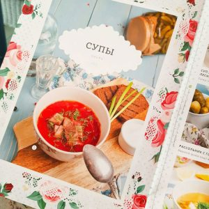 Beautiful-menu-at-Katyusha-Restaurant,-St-Petersburg,-Russia
