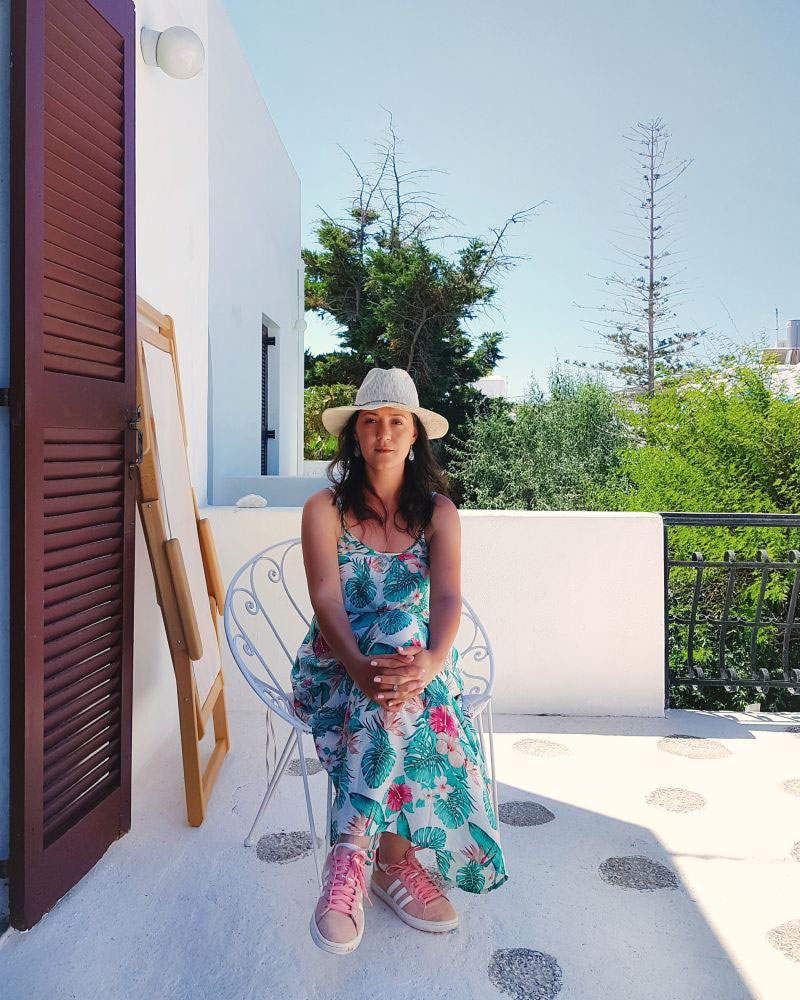 Ana - terrace at Bungalows Svoronos, Naousa, Paros