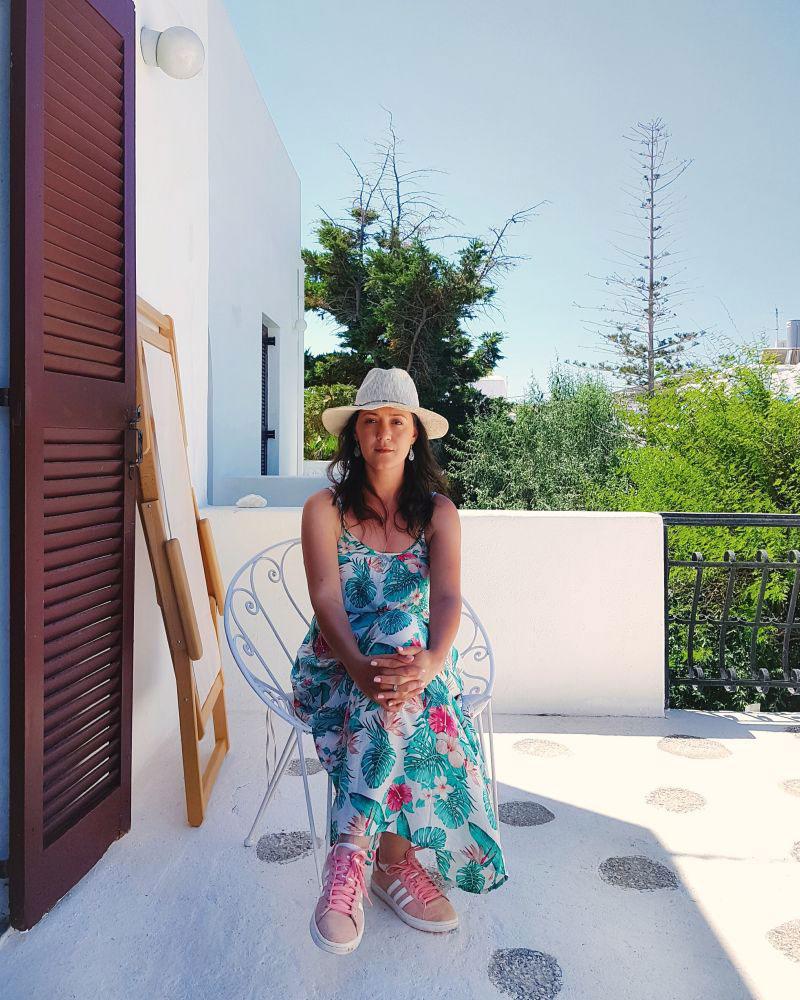 Ana - terrace at Bungalows Svoronos, Naousa, Paros