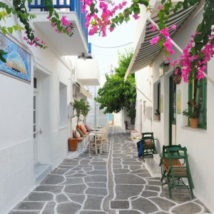 Bougainvillea street in the Old Town Naousa, Paros
