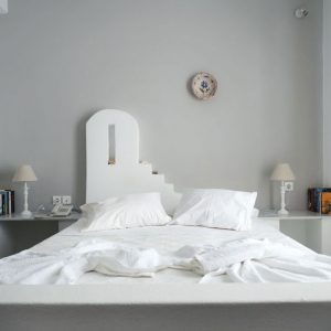 Cyclades architecture - stone-made bed in Naousa, Paros