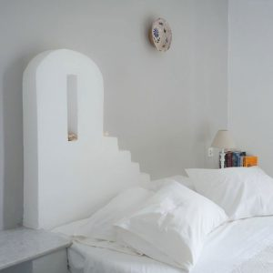 Cycladic-style bed at Svoronos Bungalows, Naousa, Paros