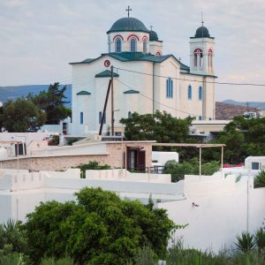 Kimisis tis Theotokou - Church in Naousa, Paros - view from Svoronos Bungalows